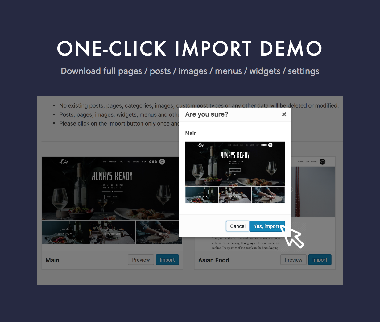 Dine One Click Import Demo